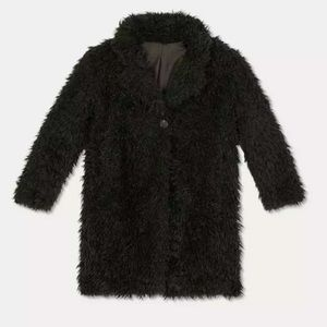 New with tags girls Sherpa Black Faux Fur Coat